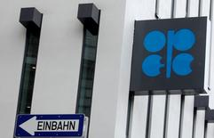 File pic of the logo of the Organization of the Petroleum Exporting Countries (OPEC) pictured on the outside of the OPEC headquarters in Vienna March 16, 2010.  REUTERS/Heinz-Peter Bader
