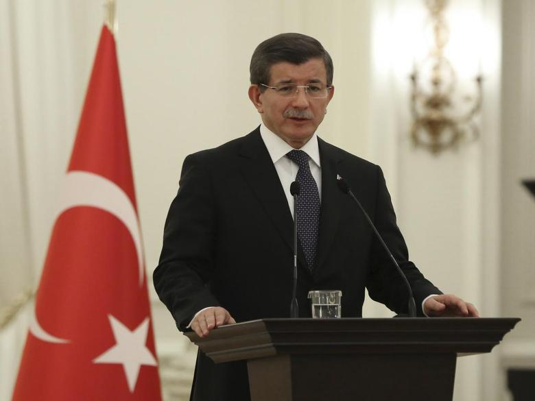 Turkish Prime Minister Ahmet Davutoglu speaks during a meeting in Ankara, Turkey January 12, 2016, in this handout provided by the Prime Minister's Press Office. REUTERS/Halil Sagirkaya/Prime Minister's Press Office/Handout via Reuters.