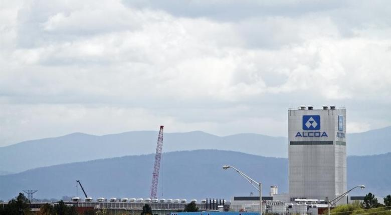 The Great Smoky Mountains are shown in the background  in this view of the Alcoa Aluminium plant in Alcoa, Tennessee.  REUTERS/Wade Payne
