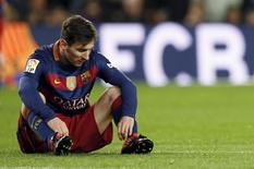 Messi em partida do Barça contra Espanyol  no Camp Nou, Barcelona 6/1/2016 REUTERS/Albert Gea