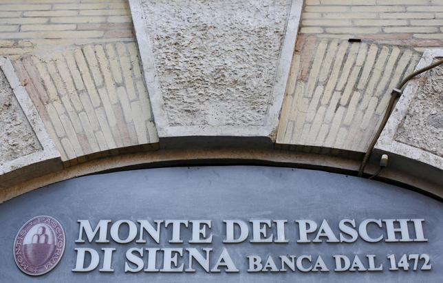Monte Dei Paschi bank logo is seen in downtown Rome, Italy, January 21, 2016.  REUTERS/Max Rossi