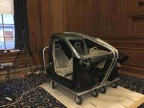 A portion of a GM automobile is displayed as evidence in a Manhattan federal courtroom in this undated handout photo provided by United States District Court for the Southern District of New York released to Reuters on January 11, 2016. REUTERS/United States District Court for the Southern District of New York/Handout via Reuters