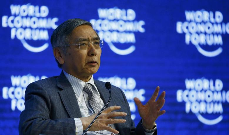 Haruhiko Kuroda, Governor of the Bank of Japan attends the session ''The Global Economic Outlook'' during the annual meeting of the World Economic Forum (WEF) in Davos, Switzerland January 23, 2016. REUTERS/Ruben Sprich