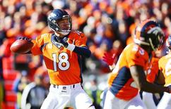 Jan 24, 2016; Denver, CO, USA; Denver Broncos quarterback Peyton Manning (18) drops back to pass against the New England Patriots in the first quarter in the AFC Championship football game at Sports Authority Field at Mile High. Mandatory Credit: Mark J. Rebilas-USA TODAY Sports