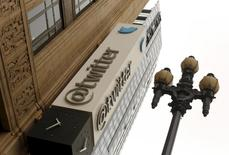 The Twitter logo is shown at its corporate headquarters  in San Francisco, California April 28, 2015.  REUTERS/Robert Galbraith