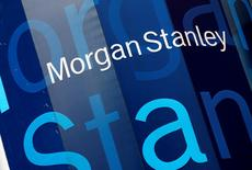 The corporate logo of financial firm Morgan Stanley is pictured on the company's world headquarters in the Manhattan borough of New York City, January 20, 2015.  UTERS/Mike Segar