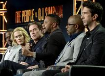 "Cast member Cuba Gooding Jr. (C), speaks as Sterling K. Brown (L), Sarah Paulson (2nd L), John Travolta, Courtney B. Vance (2nd R) and David Schwimmer (R) look on during a panel for the FX Networks ""The People v. O.J. Simpson: American Crime Story"" during the Television Critics Association (TCA) Cable Winter Press Tour in Pasadena, California in this January 16, 2016 file photo.  REUTERS/Kevork Djansezian/Files"