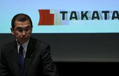 Takata Corp. Chief Executive and President Shigehisa Takada leaves a news conference in Tokyo November 4, 2015.   REUTERS/Issei Kato  - RTX1UNLN