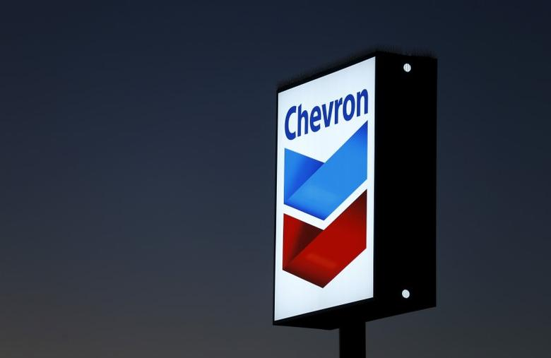 A Chevron gas station sign is shown in Cardiff, California, January 25, 2016. REUTERS/Mike Blake