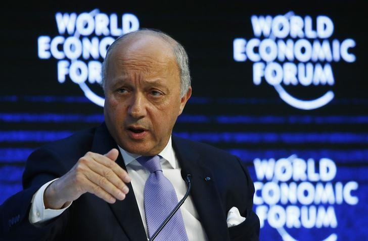 French Foreign Minister Laurent Fabius attends the session ''The New Climate and Development Imperative'' during the Annual Meeting 2016 of the World Economic Forum (WEF) in Davos, Switzerland January 21, 2016. REUTERS/Ruben Sprich