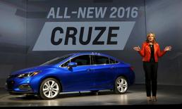 General Motors CEO Mary Barra talks about the new 2016 Chevy Cruze vehicle during an event in Detroit, Michigan, in this file photo taken June 24, 2015.  REUTERS/Rebecca Cook/Files