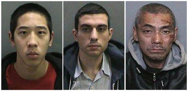 Inmates Jonathan Tieu, 20, Hossein Nayeri, 37, and Bac Duong, 43, (L to R) are seen in an undated combination photo released by the Orange County, California, Sheriff's Department.  REUTERS/Orange County Sheriff's Department/Handout via Reuters