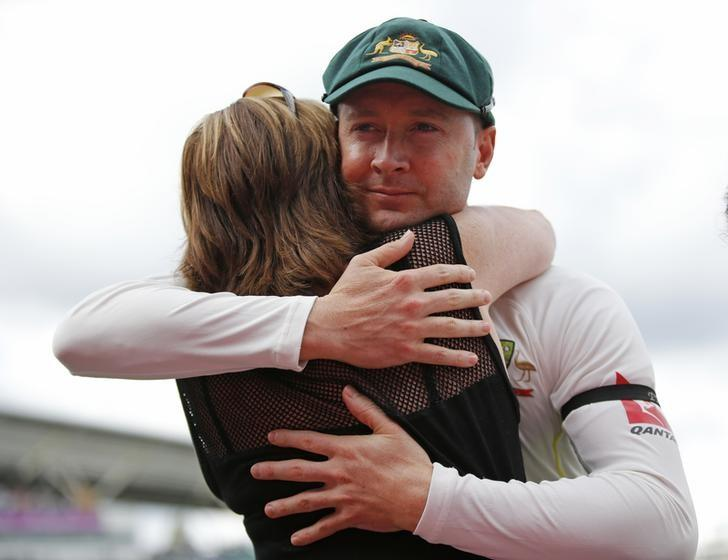 Australia's Michael Clarke hugs his mother after playing in his last test matchAction Images via Reuters / Paul Childs