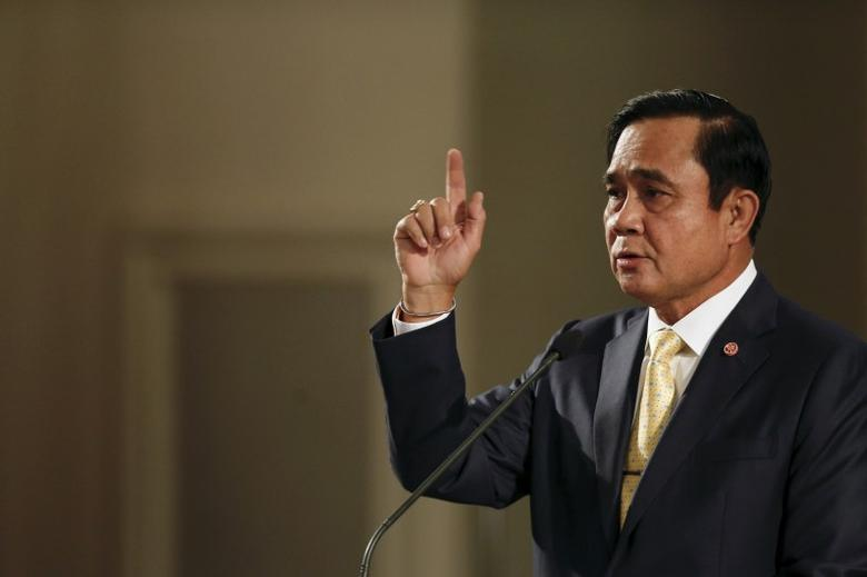 Thailand's Prime Minister Prayuth Chan-ocha addresses the nation and summarises the junta government's annual report in Bangkok, Thailand, December 23, 2015.