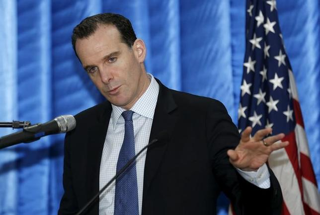 Brett McGurk, the United States' new envoy to the coalition it leads against Islamic State, speaks to reporters during a news conference at the U.S. embassy in the heavily fortified Green Zone in Baghdad, Iraq, December 9, 2015. REUTERS/Thaier Al-Sudani