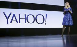 Marissa Mayer, directrice générale de Yahoo, qui devrait annoncer mardi un plan de restructuration qui prévoit de réduire de 15% les effectifs du groupe internet et l'arrêt de plusieurs activités, rapporte le Wall Street Journal. /Photo d'archives/REUTERS/Robert Galbraith
