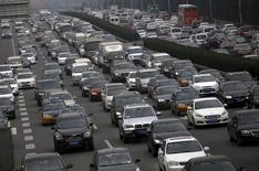 A ring road is congested with traffic in Beijing, China, in this November 18, 2015 file photo. REUTERS/Kim Kyung-Hoon/Files