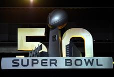 Feb 1, 2016; San Jose, CA, USA; A view of the Super Bowl 50 logo before Super Bowl 50 Opening Night media day at SAP Center. Mandatory Credit: Kyle Terada-USA TODAY Sports