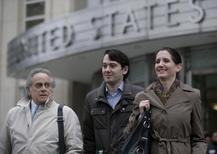 Former drug executive Martin Shkreli (C) exits with his lawyer Benjamin Brafman (L) the U.S. Federal Courthouse in the Brooklyn borough of New York February 3, 2016. REUTERS/Brendan McDermid