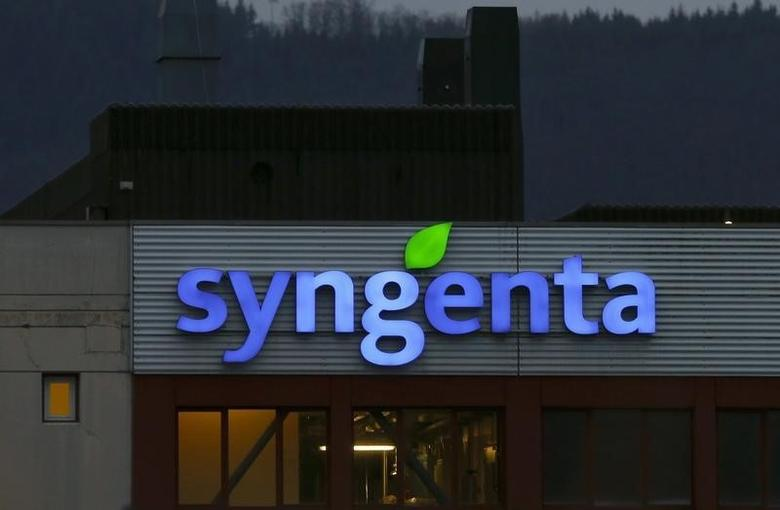 The logo of Swiss agrochemicals maker Syngenta adorns it's plant in Muenchwilen, Switzerland February 3, 2016. REUTERS/Arnd Wiegmann