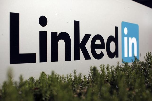 The logo for LinkedIn Corporation is shown in Mountain View, California in this February 6, 2013 file photo.  REUTERS/Robert Galbraith