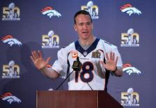 Feb 3, 2016; Santa Clara, CA, USA; Denver Broncos quarterback Peyton Manning (18) addresses the media at press conference prior to Super Bowl 50 at Santa Clara Marriott. Mandatory Credit: Kirby Lee-USA TODAY Sports