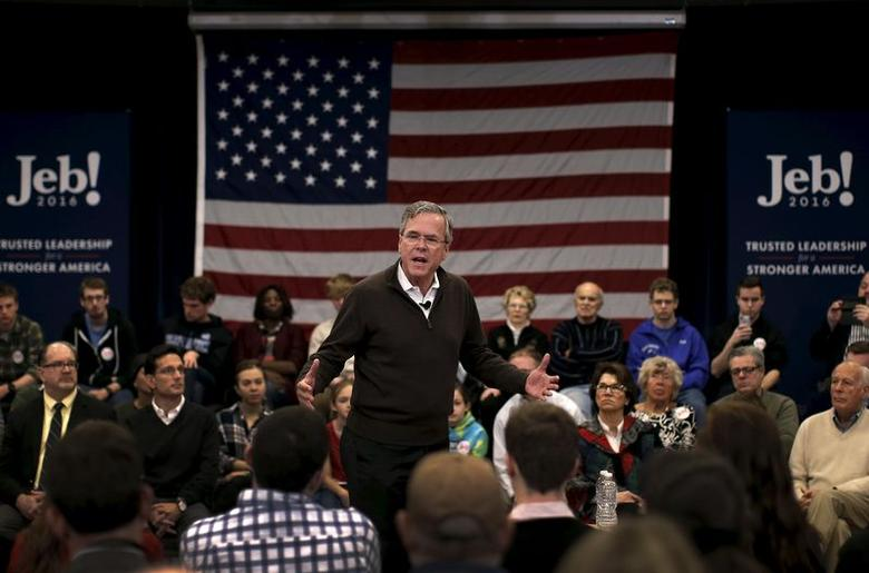 Republican presidential candidate and former Florida Governor Jeb Bush speaks to voters at a town hall meeting campaign stop at Colby-Sawyer College in New London, New Hampshire, February 3, 2016. REUTERS/Mike Segar . SAP is the sponsor of this content. It was independently created by Reuters' editorial staff and funded in part by SAP, which otherwise has no role in this coverage.