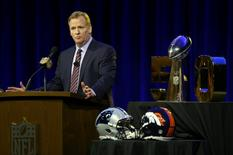 Feb 5, 2016; San Francisco, CA, USA; NFL commissioner Roger Goodell speaks during a press conference at Moscone Center in advance of Super Bowl 50 between the Carolina Panthers and the Denver Broncos. Mandatory Credit: Matthew Emmons-USA TODAY Sports