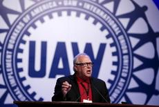 UAW President Dennis Williams addresses their Special Bargaining Convention held at COBO Hall in Detroit, Michigan in this March 25, 2015 file photo. REUTERS/Jeff Kowalsky