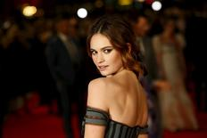 """Cast member Lily James poses at the European premiere of """"Pride and Prejudice and Zombies"""" in Leicester Square, London, Britain February 1, 2016. REUTERS/Stefan Wermuth"""