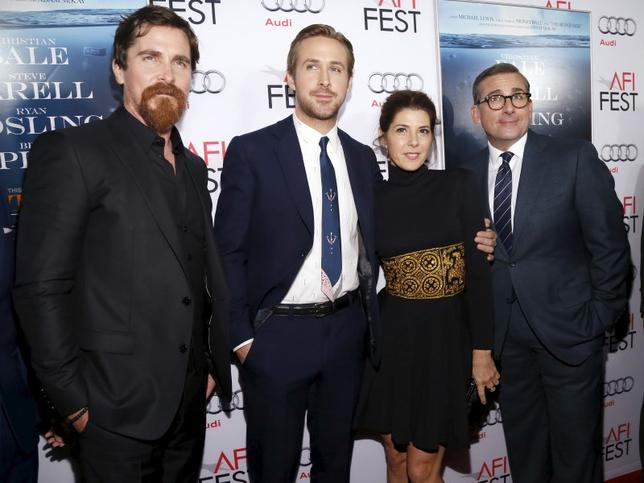 Cast members (L-R) Christian Bale, Ryan Gosling, Marisa Tomei and Steve Carell pose at the premiere of ''The Big Short'' during the closing night of AFI Fest 2015 in Hollywood, California November 12, 2015. The movie opens in the U.S. on December 23.  REUTERS/Mario Anzuoni