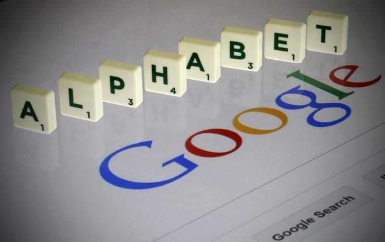 Letters spell the word ''Alphabet'' as they are seen on a computer screen with a Google search page in this photo illustration taken in Paris, France, August 11, 2015.    REUTERS/Pascal Rossignol