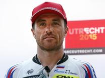 Katusha rider Luca Paolini of Italy poses during the Tour de France cycling race presentation in Utrecht, Netherlands, July 2, 2015. REUTERS/Benoit Tessier