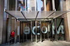 A woman exits the Viacom Inc. headquarters in New York April 30, 2013.  REUTERS/Lucas Jackson