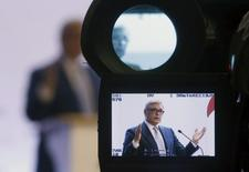 Russian opposition leader Mikhail Kasyanov, is pictured in a viewfinder, as he addresses the audience during RPR-Parnas (Republican Party of Russia- People's Freedom Party) party congress in Moscow, July 5, 2015. REUTERS/Sergei Karpukhin - RTX1J2FG