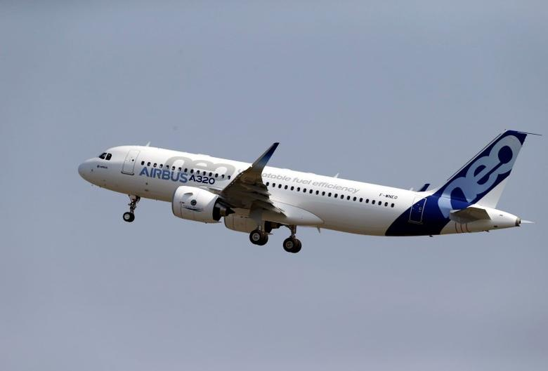 The Airbus A320neo (New Engine Option) takes off during its first flight event in Colomiers near Toulouse, southwestern France, September 25, 2014. REUTERS/Regis Duvignau