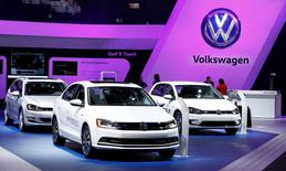 A Volkswagen Golf Hybrid is displayed at the North American International Auto Show in Detroit, January 12, 2016.   REUTERS/Mark Blinch