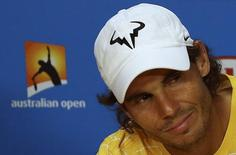 Spain's Rafael Nadal reacts during a news conference after losing his first round match against Spain's Fernando Verdasco at the Australian Open tennis tournament at Melbourne Park, Australia, January 19, 2016. REUTERS/Jason O'Brien