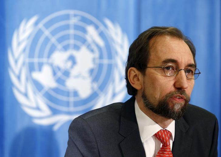 United Nations (U.N.) Human Rights High Commissioner Zeid Ra'ad Al Hussein addresses a media briefing in Geneva, Switzerland, February 1, 2016. REUTERS/Denis Balibouse