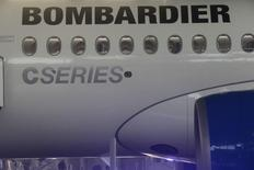 Latvia's national airline AirBaltic, a launch partner, and Canada's Bombardier present a new CS100 aircraft in Riga international airport, Latvia, November 27, 2015. REUTERS/Ints Kalnins