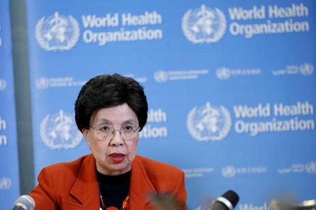 2月17日、WHO、ジカ熱対策にかかる半年間の資金調達計画を公表。チャン事務局長。1日撮影(2016年 ロイター/Pierre Albouy)