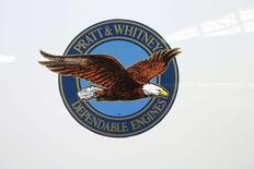 The logo of U.S. manufacturer Pratt & Whitney is seen on an engine of Swiss airline's new Bombardier CS100 passenger jet at Zurich airport near the town of Kloten June 18, 2015. REUTERS/Arnd Wiegmann