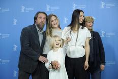 Actors Bjarne Maedel, Julia Jentsch, author and director Anne Zohra Berrached, actresses Johanna Gastdorf (L-R) and Emilia Pieske (front) pose during a photocall to promote the movie 24 Wochen (24 weeks) at the Berlinale International Film Festival in Berlin February 14, 2016.  REUTERS/Stefanie Loos