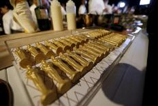 Oscar shaped chocolates are on display during a preview of the food and decor for the 88th Academy Awards' Governors Ball at the Ray Dolby ballroom in Hollywood, California February 18, 2016.   REUTERS/Mario Anzuoni