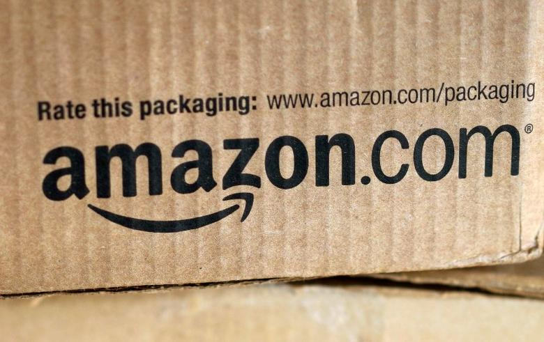 A just-delivered Amazon box is seen on a counter in Golden, Colorado in this August 27, 2014 file photo.   REUTERS/Rick Wilking/Files
