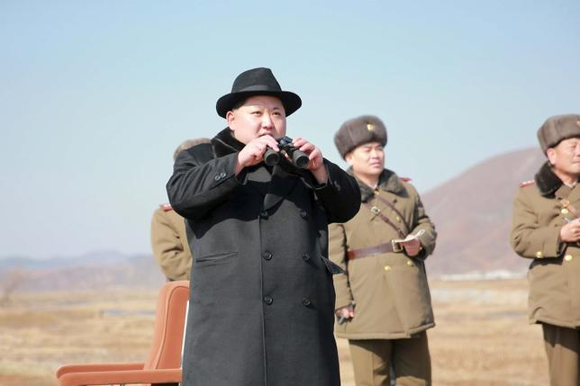 North Korean leader Kim Jong Un inspects a flight drill of fighter pilots from the Korean People's Army's (KPA) Air and Anti-Air Force, in this undated photo released by North Korea's Korean Central News Agency (KCNA) in Pyongyang on February 21, 2016. REUTERS/KCNA
