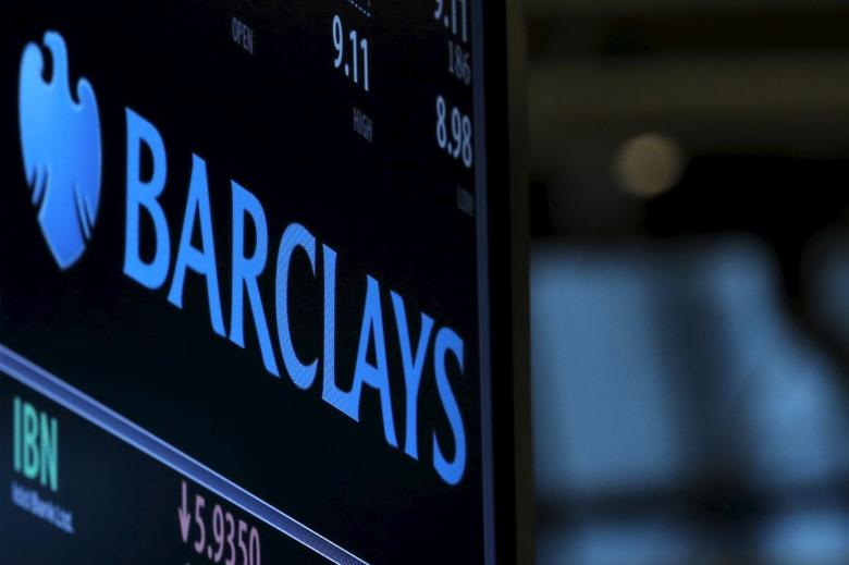 A screen displays the ticker symbol and information for Barclays on the floor of the New York Stock Exchange (NYSE)  February 9, 2016. REUTERS/Brendan McDermid