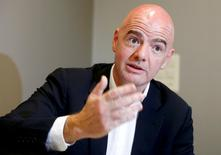 UEFA General Secretary and FIFA presidential candidate Gianni Infantino talks to Reuters during an interview in Zurich, Switzerland February 23, 2016. REUTERS/Arnd Wiegmann