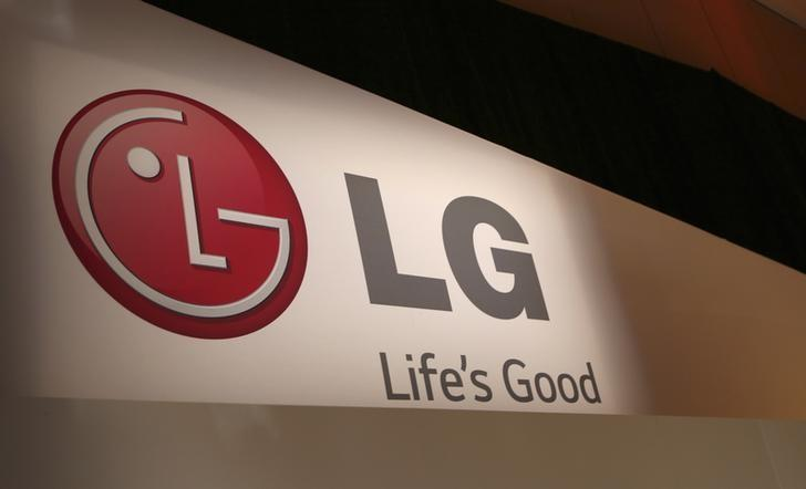 The LG company logo is seen following an event during the annual Consumer Electronics Show (CES ) in Las Vegas, Nevada January 6, 2014. REUTERS/Robert Galbraith/Files