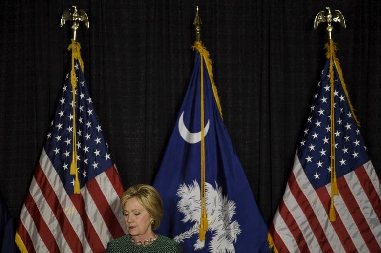 U.S. Democratic presidential candidate Hillary Clinton speaks during a campaign stop in Columbia, South Carolina February 24, 2016.   REUTERS/Rainier Ehrhardt